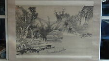 ANTIQUE 19c JAPANESE INK ON SILK SCROLL PAINTING'VILLAGE NEAR WATER AND BOAT