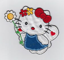 SANRIO HELLO KITTY ANGEL WITH FLOWER Fabric Embroidered Iron/Sew On Patch
