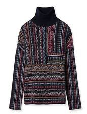 NWT $395 TORY BURCH Patchwork Fairisle Jacquard Turtleneck Sweater - S Small