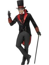 Mens DELUXE Vampire Coat Long Tailcoats Costume Red Black Adult Jacket Cravat