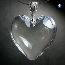 ♥ Big Adorable Clear Heart of Glass Plated Silver Pendant