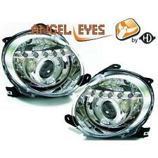 Coppia Fari Fanali Anteriori TUNING FIAT 500 2007- 2015 Cromati ANGEL EYES Led