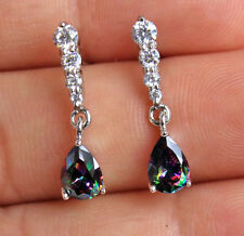 18K White Gold Filled - Waterdrop MYSTICAL Rainbow Topaz Cocktail Women Earrings