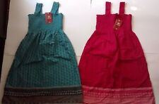 Lot of 2 Women's Faded Glory Printed Smocked Strap Sundresses, Sz 4, NWT