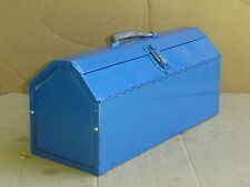 Vintage All Metal TOOL BOX w TRAY Butterfly doors 19 x 7.5 x 8.5  repainted blue