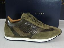$3500 Ralph Lauren Winfield Camo Snake Skin Suede Leather Sneaker Italy Shoes 11