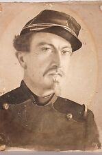 Portrait au Lavis monogrammé M.V. , Garde Mobile, vers 1870, Militaria