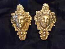 DECORATIVE HANGING FACES ORNATE  MOULDINGS ANTIQUE GOLD MIRROR FURNITURE