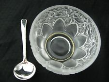 VTG WILLIAM ADAMS Rose Crystal Bowl West Germany Silver Plate Sugar Spoon Italy