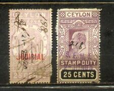 Ceylon 1 QV and 1 KEDVII Old Revenue/Judicial Stamp Duty