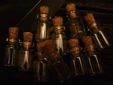 10 MINIATURE APOTHECARY BOTTLES small glass jars CORK TOPS empty clear POTION