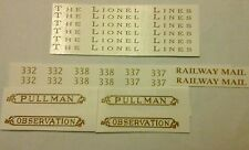GOLD WATERSLIDE DECAL: LIONEL STANDARD SCALE 332-337-338 PASSENGER CAR SET LOOK!