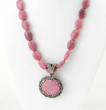 """Carolyn Pollack Pink Rhodonite Sterling Silver Pendant Necklace 20"""""""