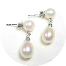Genuine AAA White Pearl Dangle Post Earrings in 14K White Gold