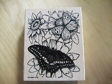 Northwoods Rubber Stamps ~ Butterfly on Flowers Detailed~ D8 O9