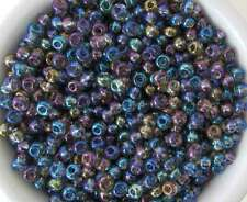 Czech Glass Seed Bead Peacock Blue Purple Teal Gold Mixed Lot Size 6/0
