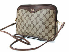 Auth GUCCI GG Pattern PVC Canvas Leather Browns Cross-Body Shoulder Bag GS1025