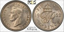 Great Britain 6P Pence 1952 MS65 PCGS copper-nickel KM#875 KEY DATE Blast White
