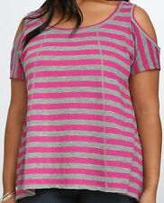 NEW TORRID WOMENS PLUS SIZE 4X 4  GRAY & PINK COLD SHOULDER SWING TEE SHIRT TOP