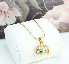 18k Gold Filled Blue Evil Eye Amulet Necklace Pendant with Cubic Zirconia