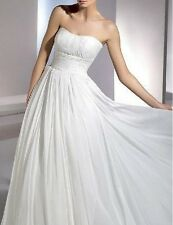 New White Chiffon Strapless Wedding Bridal Dress Debutante Gown Au Sz 18