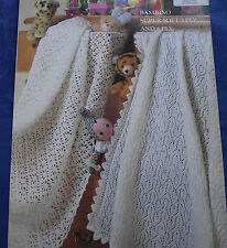 KNITTING & CROCHET PATTERN - BABY BLANKETS/SHAWLS 1 KNITTED/1 CROCHET 3 & 4 PLY