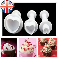 3 Love Heart Cake Decorating Sugarcraft Tool Mould Plunger Cutter Icing Fondant