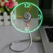 Mini USB LED Clock Cool Fan with Adjustable Flexible Gooseneck Office Gadget