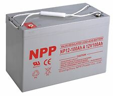 NPP 12V 100Ah Rechargeable AGM Deep Cycle SLA Solar Battery Replace UPG UB121000