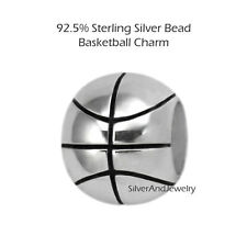 Basketball 925 Sterling Silver Bead Sports Charm fits European Bracelet Necklace