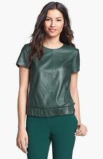 NEW HALOGEN Leather Front Elastic Waist TOP BLOUSE Size M GREEN BOTTLE SOLD OUT