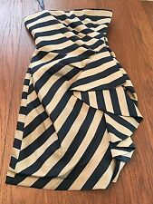 Women's BCBG Max Azria Stripe Strapless Dress Dark Ink Size 0 NWT Lined