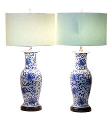 Pair Old Vintage Japanese Chinese Blue & White Lotus Scroll Porcelain Vase Lamps