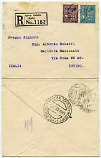 MALTA 1933 REGISTERED 2 1/2d + 3d POSTAGE + REVENUE COMBINATION to BOLAFFI