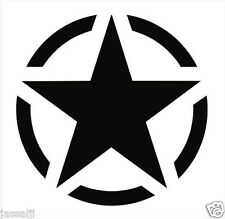 Military Star Windows, Sides, Hood, Bumper Car Sticker (black)
