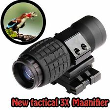 Outdoor Hunting Tactical 3X Magnifier Scope Sight +Flip-to-Side 20mm Mount New
