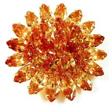 US BROOCH Swarovski ELMT Crystal PIN Wedding Flower Gold plated Brown Yellow Sun