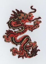 Iron On Embroidered Applique Patch Chinese Red and Black Dragon LARGE