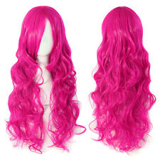 Fashion Rose Pink Long Hair Wave Curly Wigs Curly Hair Cosplay Dress Full Wigs