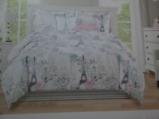 2 pc Envogue PARIS Eiffel Towel Rose Twin Duvet Set ~ Grey, Aqua, Pink, Lavender
