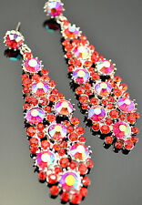 Gorgeous  Rhinestone Crystal  Long Drop Chandelier  Earrings (5 Color Available)