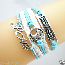 Mix Love/Dog/Best Friend Charms Leather Braided Bracelet -Baby Blue/white