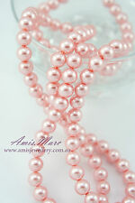 100PCS 8MM Pink Color Glass Pearl Round Spacer DIY Imitation Loose Pearl Beads