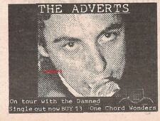 ADVERTS (TV Smith) One Chord Wonders 1977  UK Press ADVERT 5x4 inches