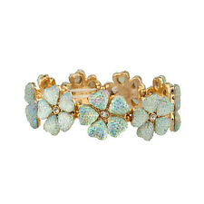 Lux Accessories Caviar Crystal Flower Floral Statement Stretch Bracelet