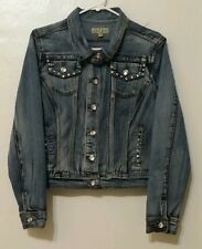 Earl Jean Womens Distressed Stretch Rhinestone Women's Denim Jean Jacket Size M