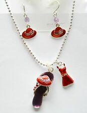 Purple Flip Flop w Red Hat & Red Dress Pendent Necklace & Earrings / Silver-tone