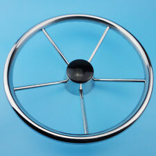 13-1/2 INCH 5-SPOKE DESTROYER STYLE STAINLESS BOAT STEERING WHEEL