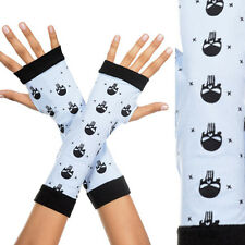 White Opaque Fingerless Gloves Arm Warmers Skull & Stars Halloween Arm Gauntlet