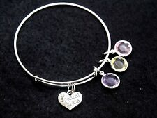 Expandable Wire  BANGLE silver Charm BRACELET Special Niece 3 color Charms